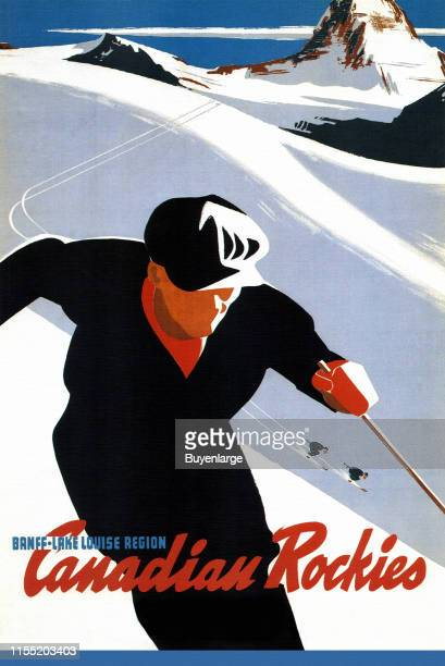 Ski in the Canadian Rockies Canada 1970 Image taken from a Canadian Pacific travel poster of the steamship era
