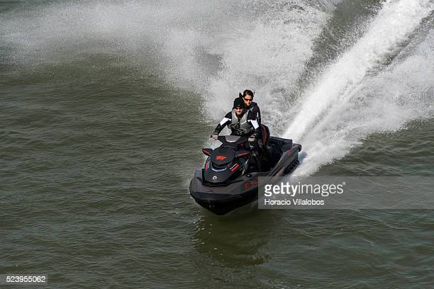 Ski jet sails the Rhine river past Bonn, Germany, 09 September 2014. Bonn, that offers many touristic attractions, was founded in the first century...