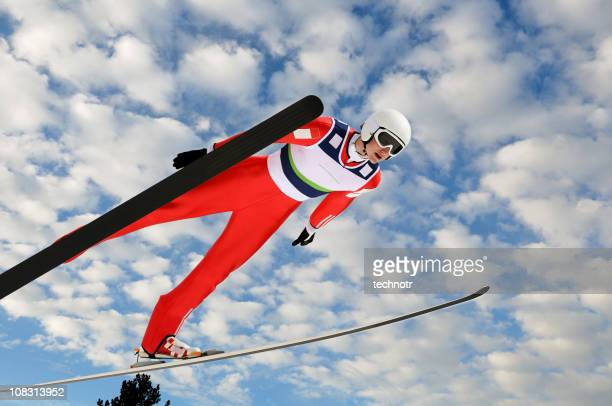 ski jumper against the sky - ski jumping stock pictures, royalty-free photos & images