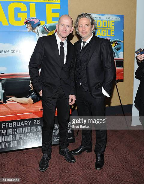 Ski Jumper Eddie Edwards and Director Dexter Fletcher attends the 'Eddie The Eagle' New York Screening at Chelsea Bow Tie Cinemas on February 23 2016...
