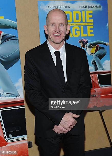 Ski Jumper Eddie Edwards attends the Eddie The Eagle New York Screening at Chelsea Bow Tie Cinemas on February 23 2016 in New York City