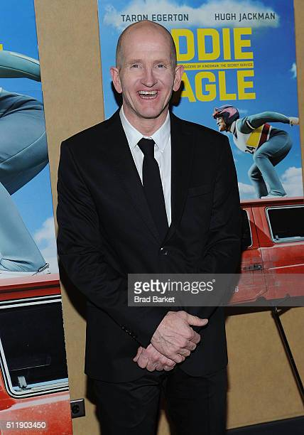 Ski Jumper Eddie Edwards attends the 'Eddie The Eagle' New York Screening at Chelsea Bow Tie Cinemas on February 23 2016 in New York City