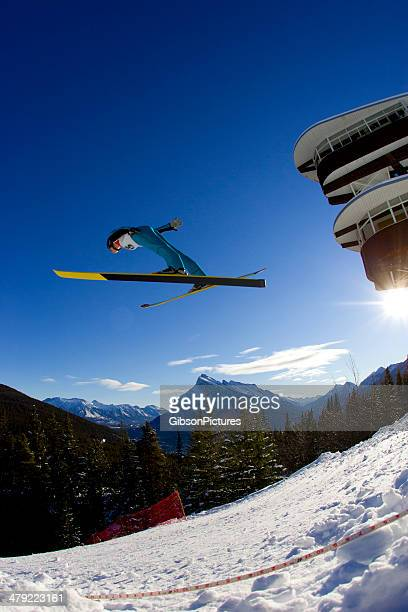 ski jumper girl - ski jumping stock pictures, royalty-free photos & images