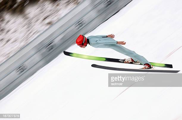 ski jumper in action - ski jumping stock pictures, royalty-free photos & images