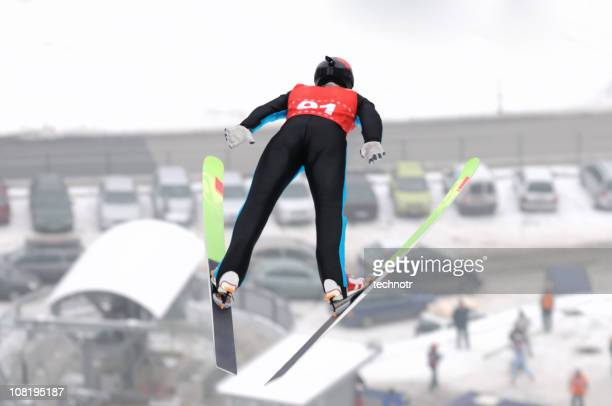 ski jumper in the air - ski jumping stock pictures, royalty-free photos & images