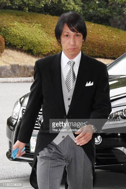 Ski jumper Noriaki Kasai is seen on arrival at the tea party marking the 30th anniversary on throne at the Imperial Palace on February 26 2019 in...
