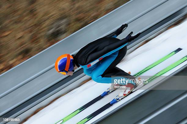 ski jumper - ski jumping stock pictures, royalty-free photos & images