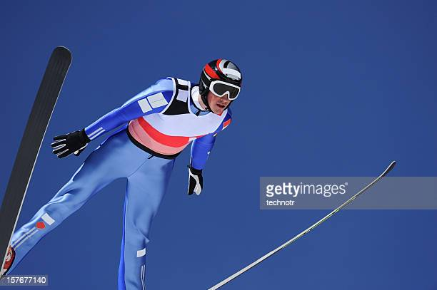 ski jumper portrait - ski jumping stock pictures, royalty-free photos & images