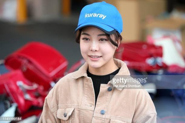 Ski jumper Sara Takanashi speaks after helping the preparation for shipping used school bags to Afghanistan on April 6 2019 in Yokohama Kanagawa Japan