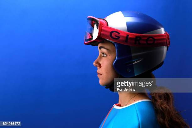 Ski Jumper Sarah Hendrickson poses for a portrait during the Team USA Media Summit ahead of the PyeongChang 2018 Olympic Winter Games on September 26...