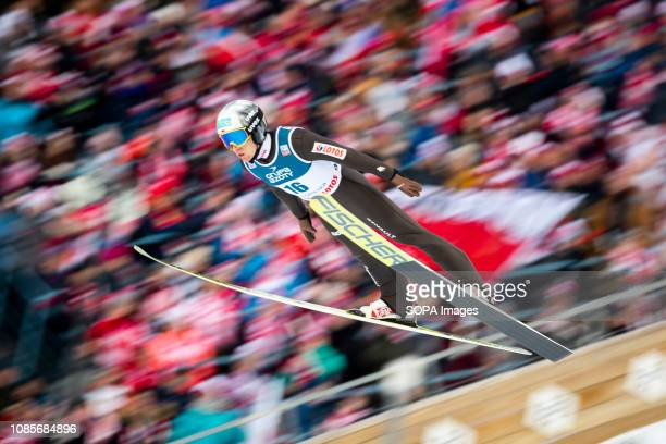 A ski jumper Stefan Hula seen in action during the Team individual competition for FIS Ski Jumping World Cup in Zakopane Poland