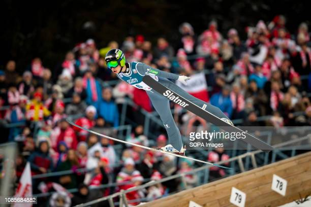 A ski jumper Tilen Bartol seen in action during the Team individual competition for FIS Ski Jumping World Cup in Zakopane Poland