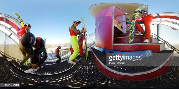 Ski jumpers prepare for a practice session before the Ski Jumping Men's Large Hill on day eight of the PyeongChang 2018 Winter Olympic Games at...
