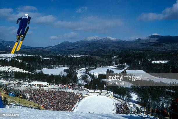 1980 Winter Olympics Overall view of fans watching athlete from gallery during competition at Lake Placid Olympic Ski Jumping Complex Lake Placid NY...