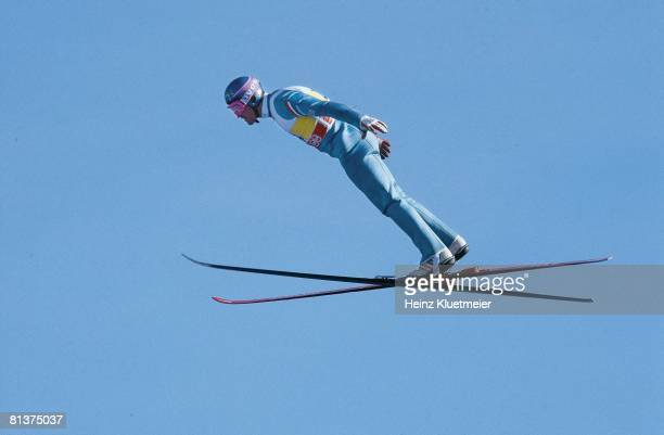 Ski Jumping: 1988 Winter Games, GBR Eddie The Eagle Edwards in action, Calgary, CAN 2/13/1998