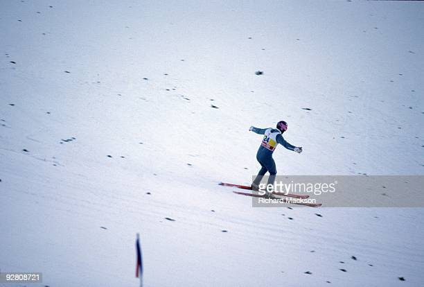1988 Winter Olympics Great Britain Eddie The Eagle Edwards in action at Canada Olympic Park Calgary Canada 2/13/1998 CREDIT Richard Mackson