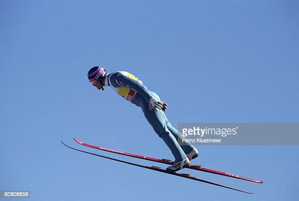 1988 Winter Olympics Great Britain Eddie The Eagle Edwards in action at Canada Olympic Park Calgary Canada 2/13/1998 CREDIT Heinz Kluetmeier