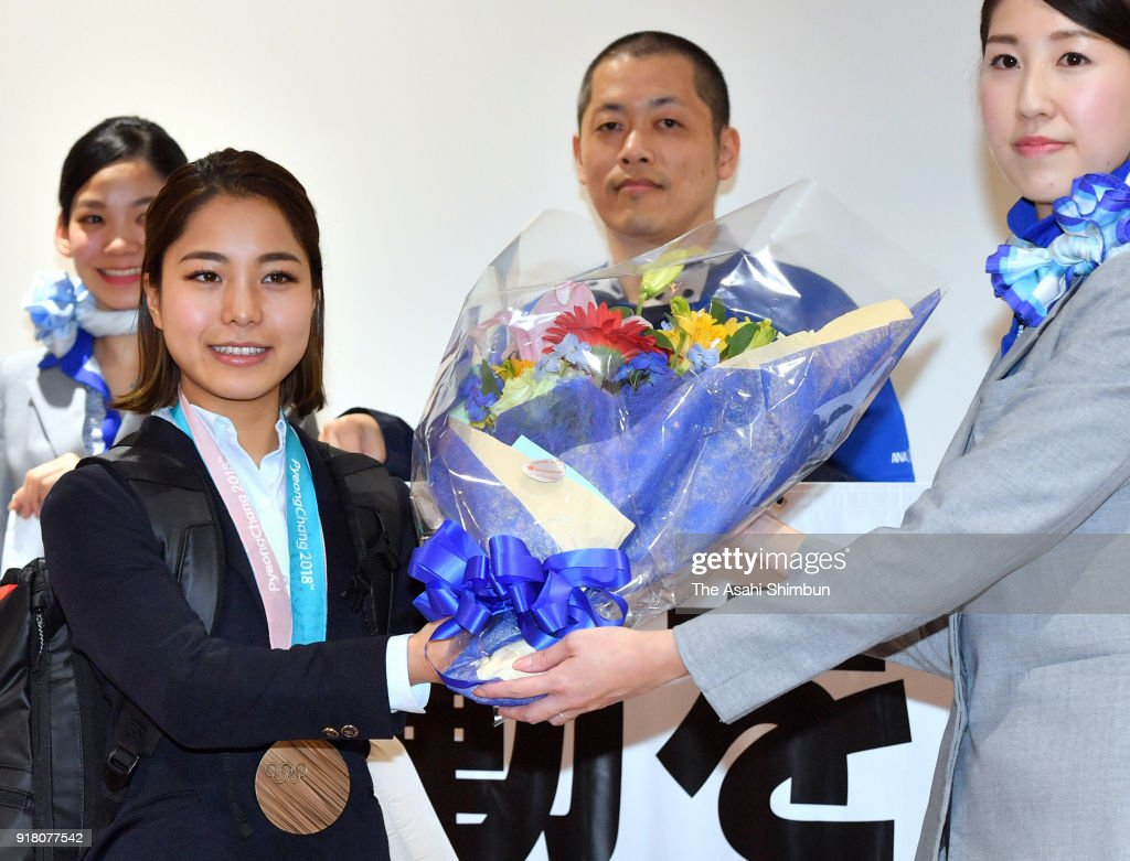 Ski jumping Ladies Normal Hill bronze medalist Sara Takanashi is seen on arrival at Haneda Airport on February 14, 2018 in Tokyo, Japan.