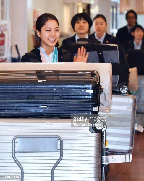 Ski jumping Ladies Normal Hill bronze medalist Sara Takanashi is seen on arrival at Haneda Airport on February 14 2018 in Tokyo Japan