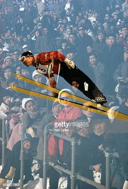 Sapporo International Sports Week Japan Akitsugu Konno in action during Men's 70M at Miyanomori Jump Hill Multiple exposure of fans Winter Games...