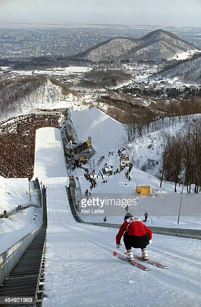 Sapporo International Sports Week Scenic view of miscellaneous skiier in action during Men's 70M at Miyanomori Jump Hill Winter Games Preview Sapporo...