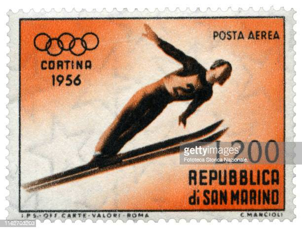 Ski jumping Stamp from the series dedicated by the Post Office of the Republic of San Marino to the sports practiced in the 7th Winter Olympic Games...