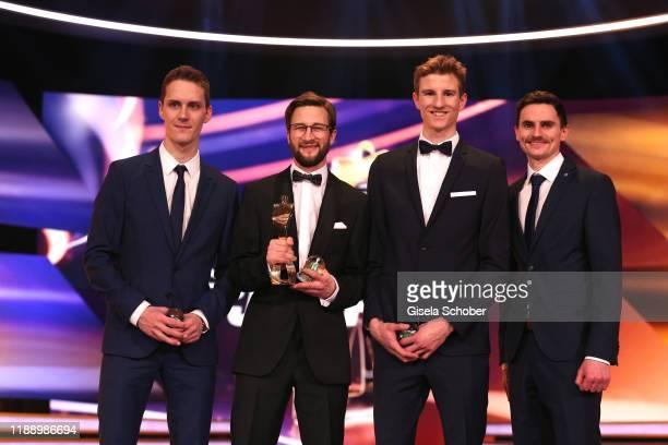Ski jumping team Stephan Leyhe, Markus Eisenbichler, Karl Geiger and Richard Freitag with awardduring the 'Sportler des Jahres 2019' Gala at Kurhaus...