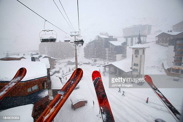 Ski lift and ski pole