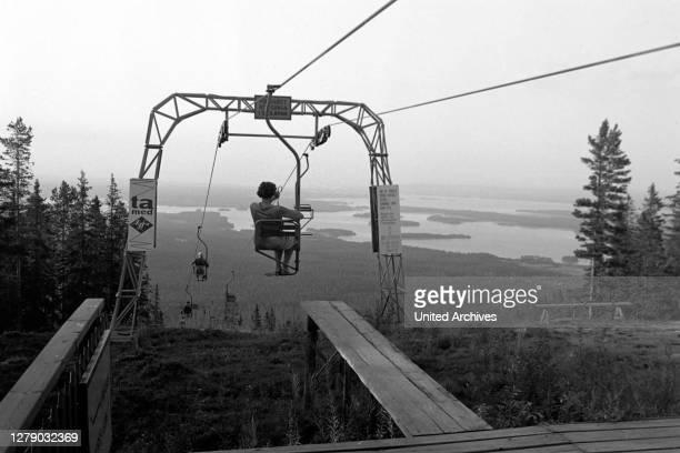 Ski lift at Gesundaberget, Solleroen, Sweden, 1969.