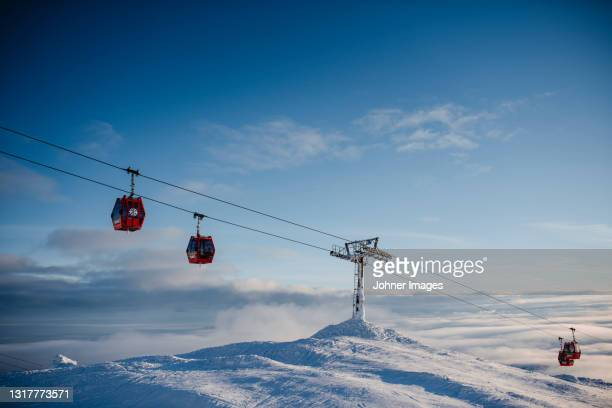 ski lift at sunny day - sweden stock pictures, royalty-free photos & images