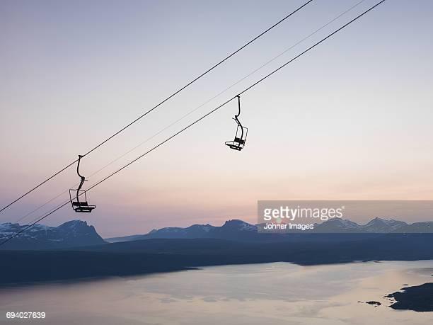 Ski lift at sunset