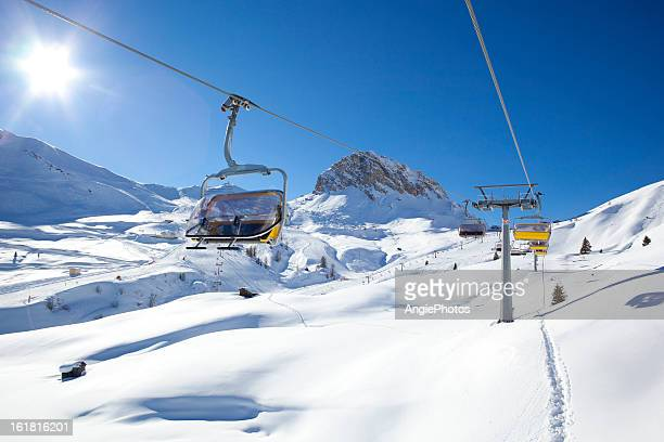 ski lift in wonderful winter landscape - ski lift stock pictures, royalty-free photos & images