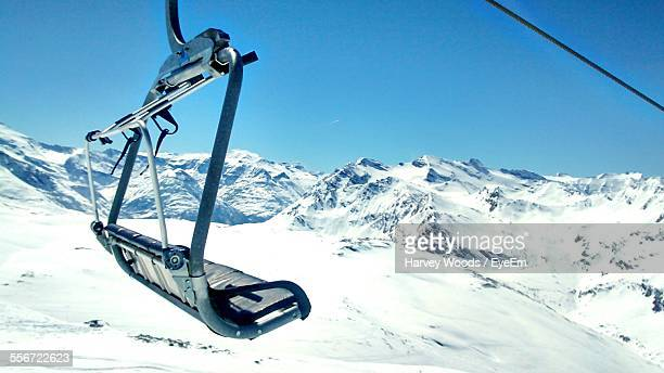 Ski Lift Over Snow Covered Mountains
