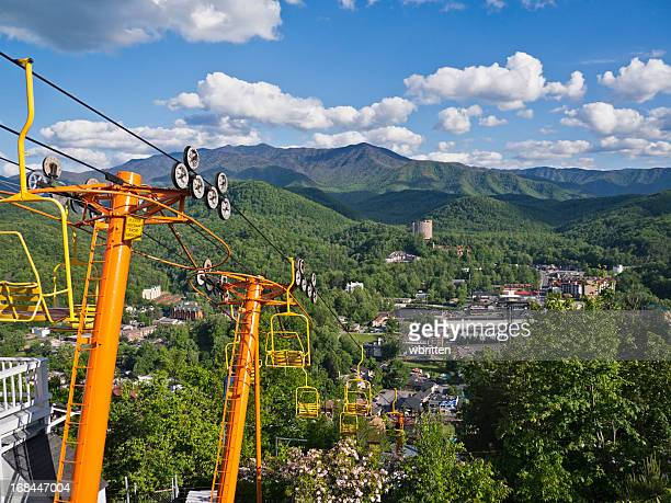 ski lift overlooking the smoky mountains and gatlinburg - tennessee stock pictures, royalty-free photos & images