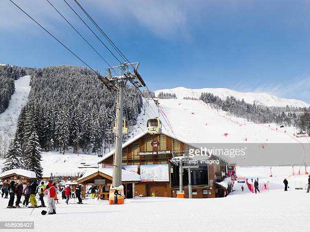ski lift station in meribel france - meribel stock photos and pictures
