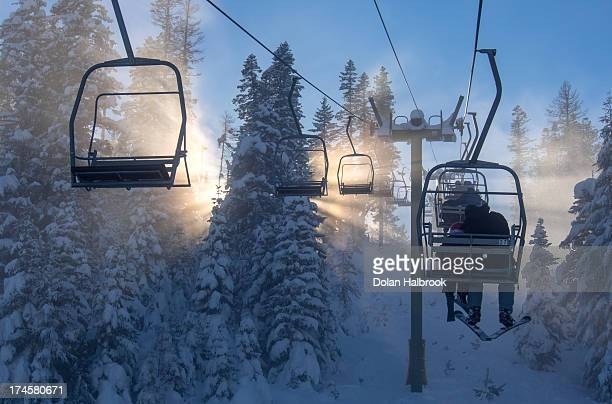 Ski lift sunburst