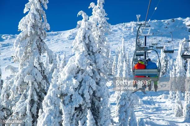 ski lift view - ski lift stock pictures, royalty-free photos & images