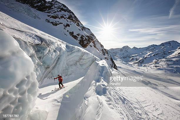 Ski Mountain guide walking between ice walls