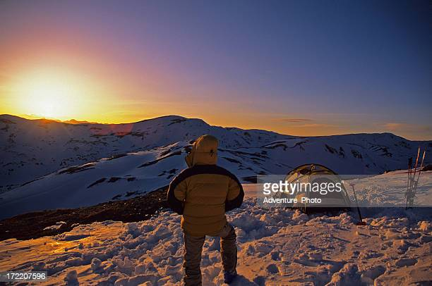 Ski Mountaineering Camp at Sunset