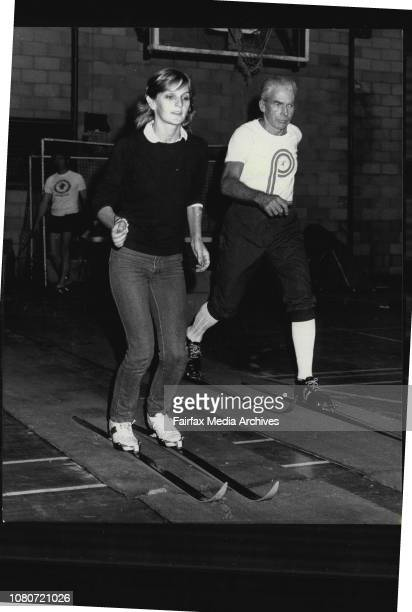 Ski Nordic open day at Macquarie UniversityAdrienne Hunt and Ian Hampel in action on the in door training track May 24 1981