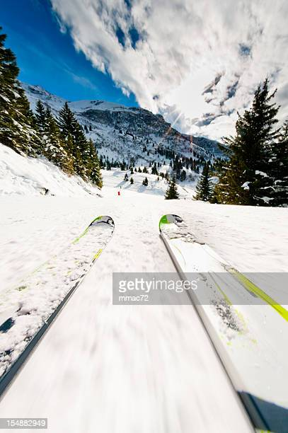 ski on the slope - isere stock pictures, royalty-free photos & images
