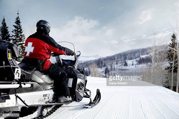 Ski patrol on the mountain