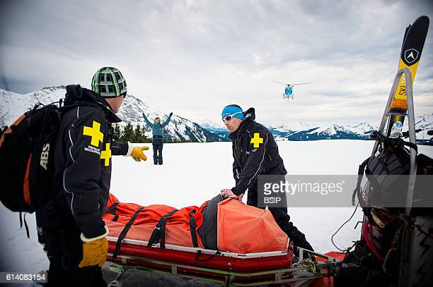 Ski patrol team at the Avoriaz ski resort in Haute Savoie France The team are responsible for marking out the ski slopes providing first aid to...