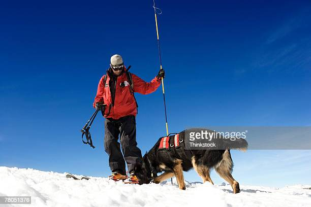 Ski patrol with dog
