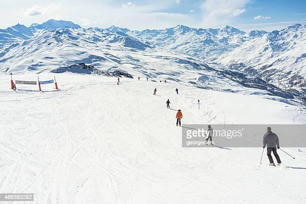 ski piste at meribel - meribel stock photos and pictures
