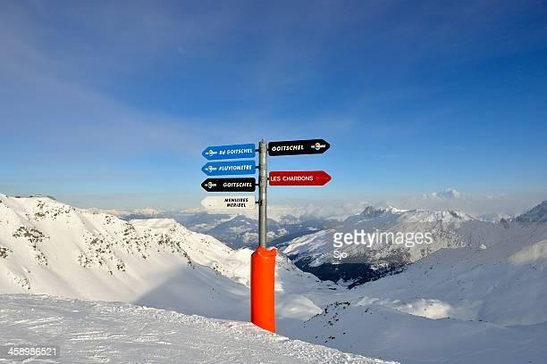ski piste directions - meribel stock photos and pictures