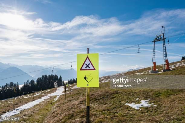 Ski piste without snow