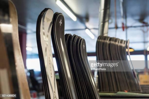 Ski production at ZAI luxury ski manufacture