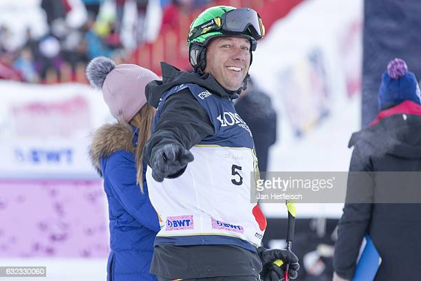 Ski racer Fritz Strobl of Austria reacts after his run at the KitzCharityTrophy on January 21 2017 in Kitzbuehel Austria