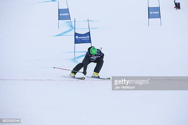 Ski racer Fritz Strobl of Austria speeds down the slope during the KitzCharityTrophy on January 21 2017 in Kitzbuehel Austria